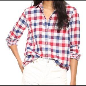 Madewell Ex-Boyfriend shirt red white & blue Sz L